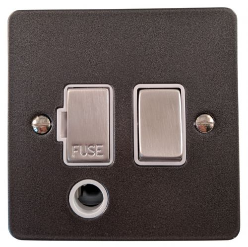 G&H FP256 Flat Plate Pewter 1 Gang Fused Spur 13A Switched & Flex Outlet